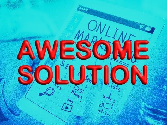 """""""awesome solution"""" red text on blue background"""