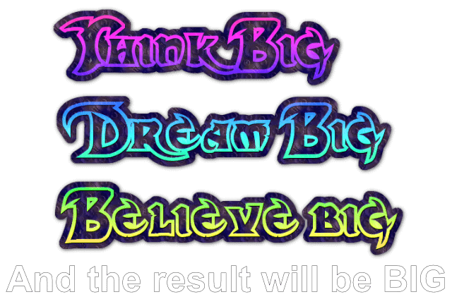 personal development dream big color text