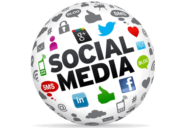 social media icons in a ball